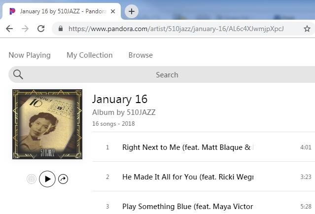 510JAZZ is featured artist on Pandora!